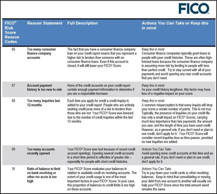 FICO Reason Codes